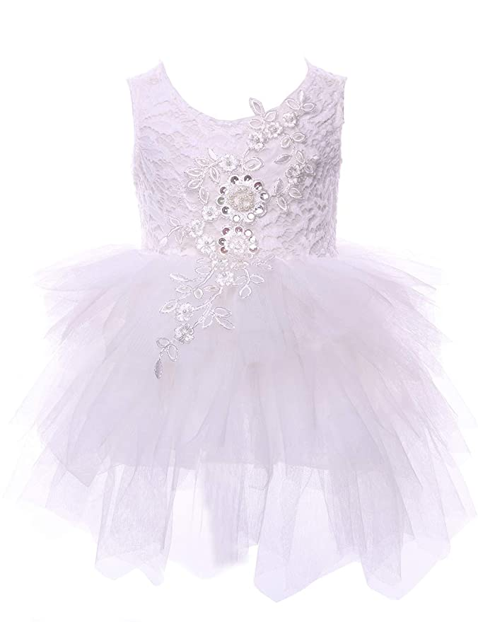 7e634269b Amazon.com: Cilucu Flower Girls Dresses Baby Birthday Party Dress Toddlers  Tulle Lace Dress Pageant Beaded Dress Backless: Clothing