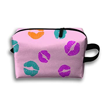 94c9b33835 Colorful Kiss Funny Large Storage Bag Portable Home Makeup Bag Travel Bag  Cosmetic Organizer