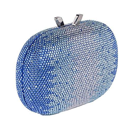 Bolsa de embrague, Ilda tela Azul con piedras