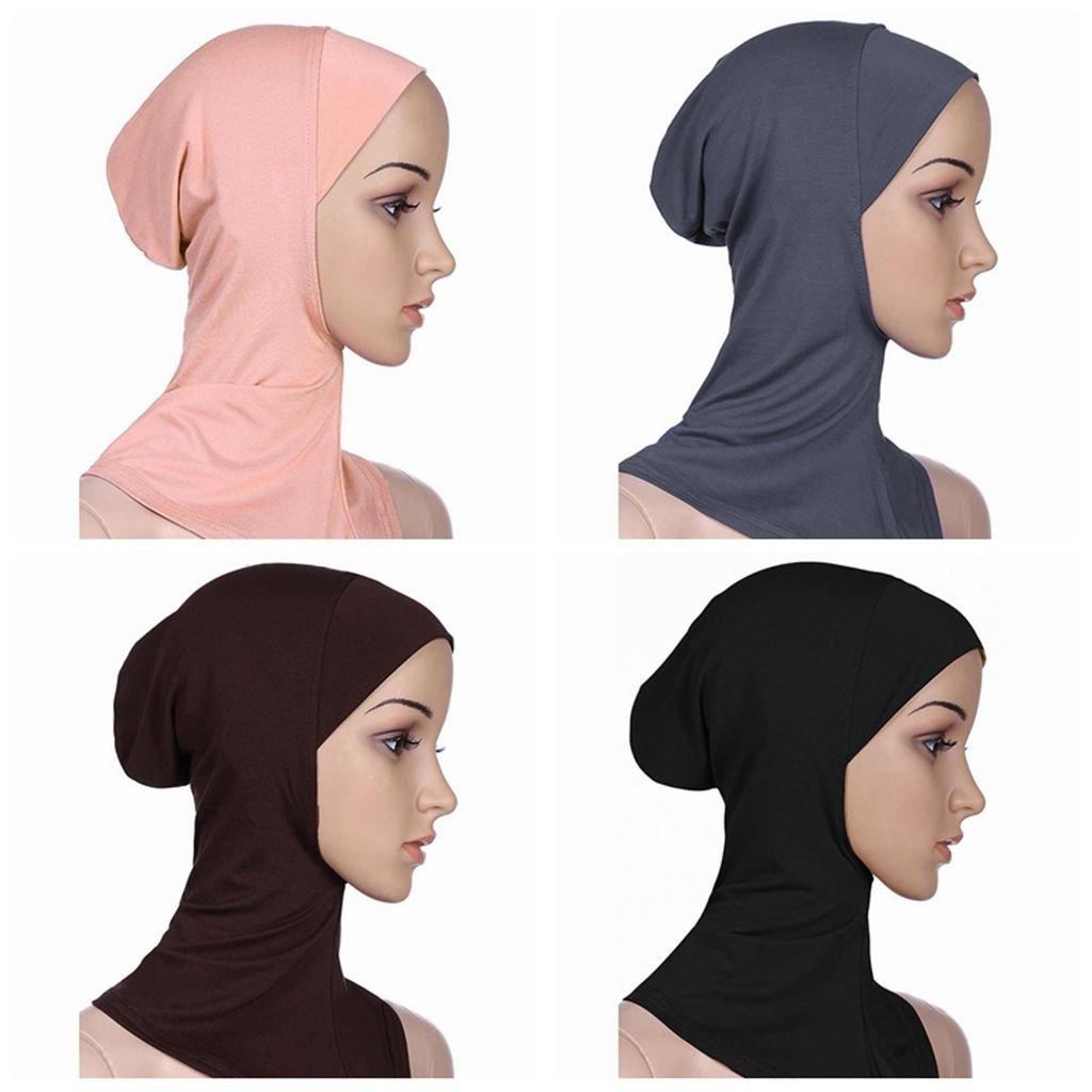 Ksweet 4pcs Lightweight Elastic Hijab Caps Full Cover Hijab Bonnet Islamic Scarf for Women Turban (Black+Grey+Light brown+KQ)
