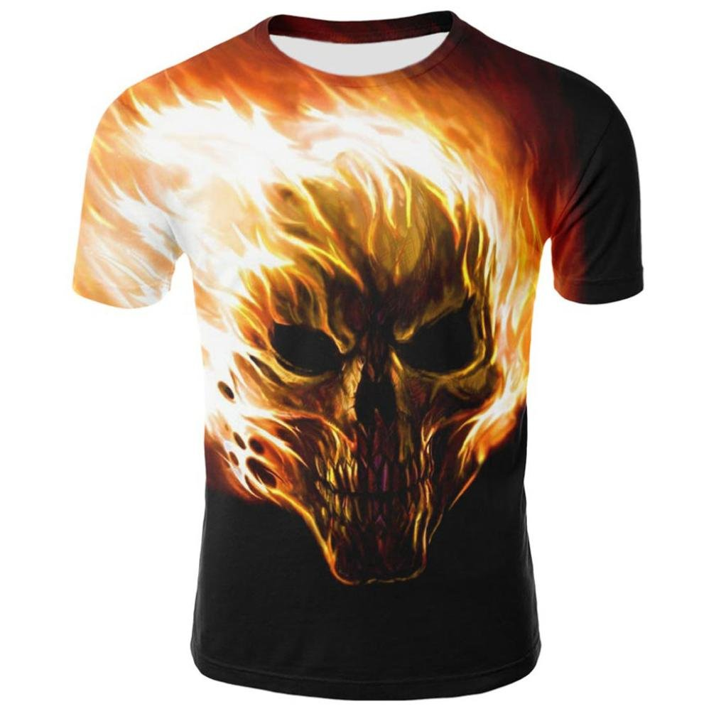Realdo Fire Skull Printing Pullover Shirts for Men, Fashion Casual Slim Crewneck Top T-Shirt