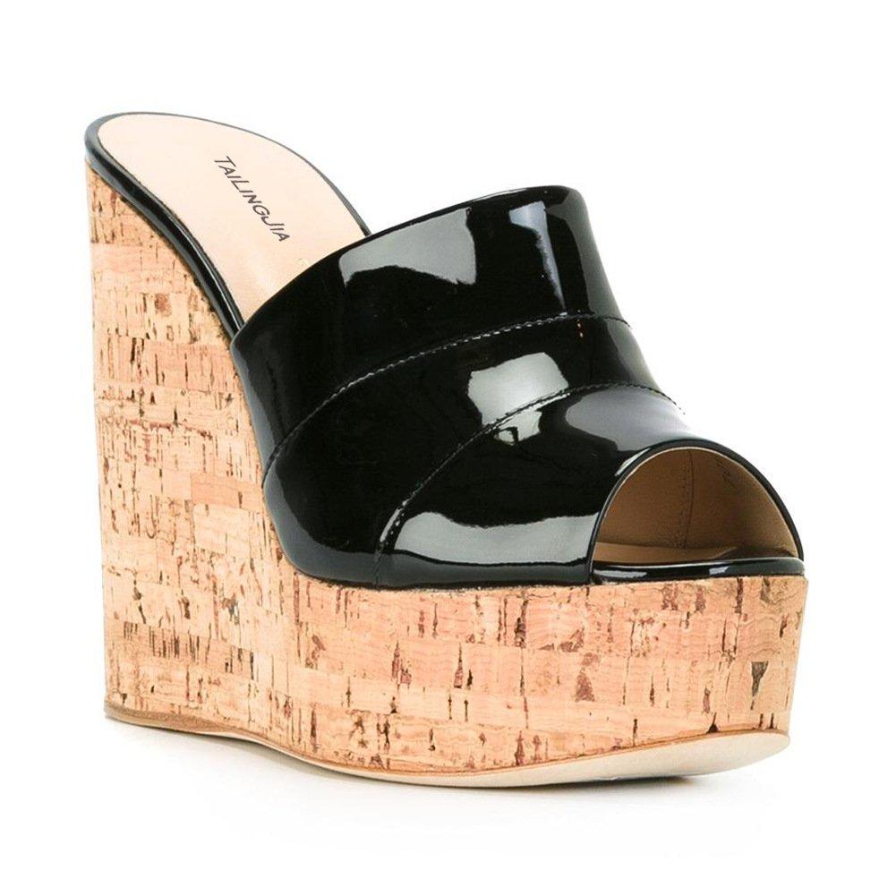 Black Women's Wood Grain Wedge Sandals Super High shoes Fashion Chunky Block Heel Sandals(Heel Height  15-17cm)