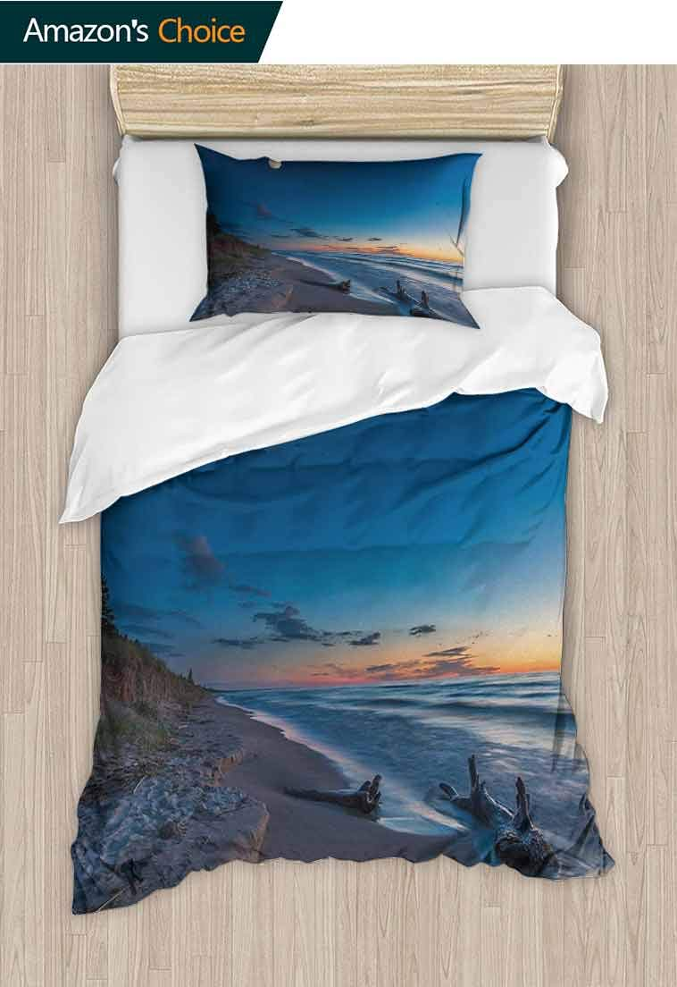 Driftwood DIY Duvet Cover and Pillowcase Set, Nature Theme Driftwood on a Lake and The Moon in The Sky Digital Image, Print Duvet Cover Sets Soft Microfiber 2Pcs Quilt Cover, 79 W x 90 L Inches