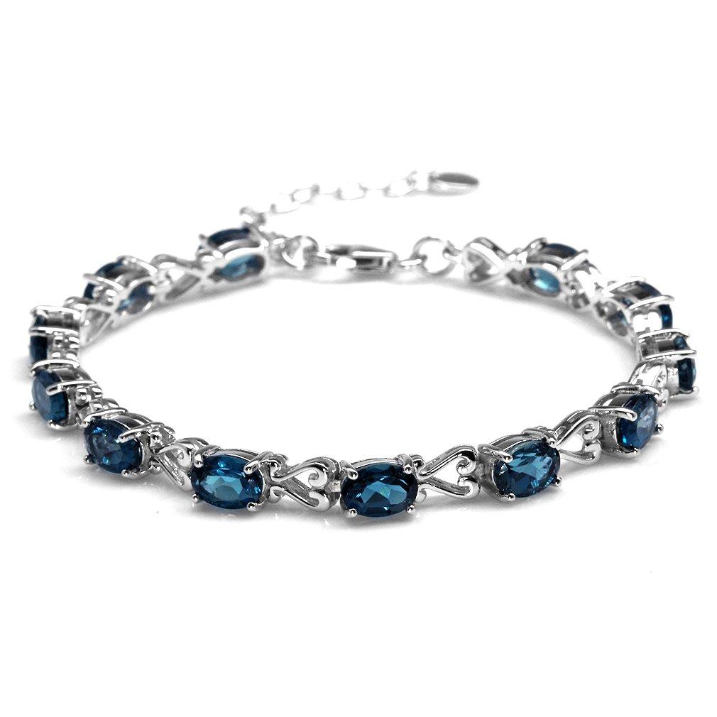 12.48ct. Genuine London Blue Topaz 925 Sterling Silver Victorian Heart Style 7-8.5'' Adj. Bracelet