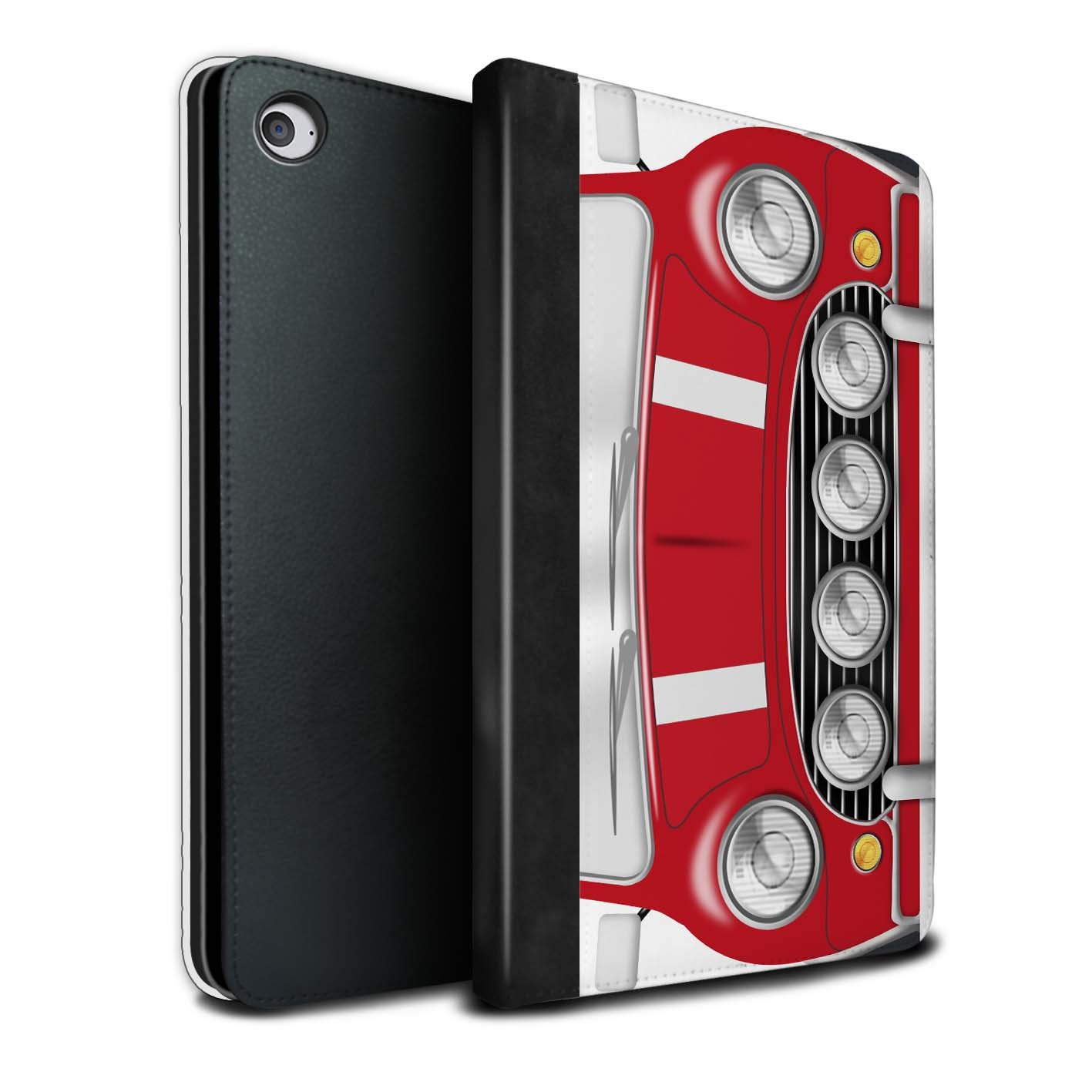 STUFF4 PU Leather Book/Cover Case for Apple iPad Mini 4 tablets / Solar Red Design / Classic Retro Mini Collection