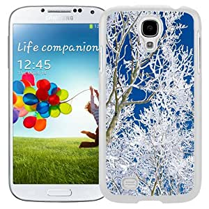 Beautiful Unique Designed Cover Case For Samsung Galaxy S4 I9500 i337 M919 i545 r970 l720 With Snowed Branches White Phone Case
