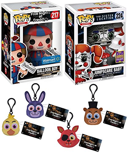 Five Nights at Freddy's Funko Pop! Exclusive Figures Balloon Boy & Jumpscare Baby SDCC Sister Location & + Complete Set of Stuffed keychain - Chica / Freddy / Foxy Pirate - Chicago Locations Target