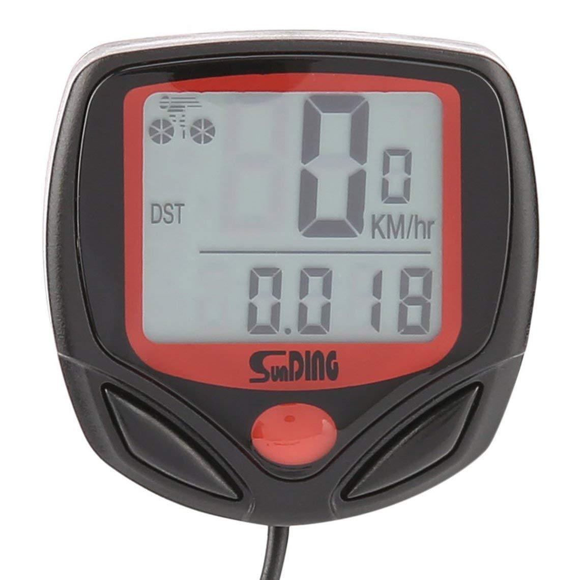 Zinniaya SUNDING SD-546B Wired Multifonctionnel Ordinateur De V/élo Mini Odom/ètre Chronom/ètre Portable Num/érique LCD /Étanche Compteur De Vitesse