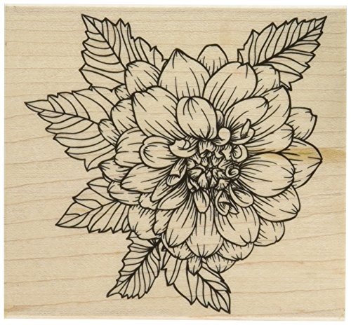 Hero Arts K6214 Artistic Dahlia Red Rubber Wood Stamp by Hero Arts