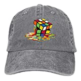 Vintage Cotton Denim Cap Baseball Hat Melting Rubik's Cube Six-Panel Adjustable Trucker Dad