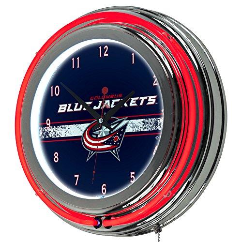 Trademark Gameroom NHL Columbus Blue Jackets Chrome Double Rung Neon - Clock Columbus Blue Jackets
