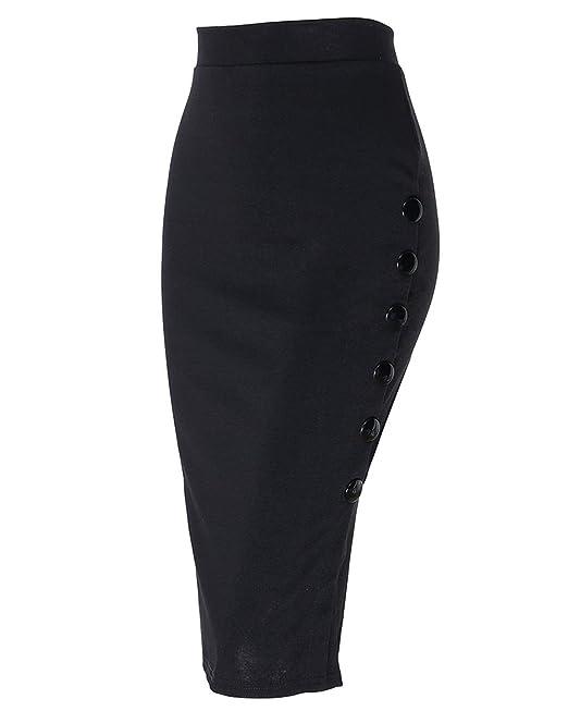 08b1fc59b Kenancy Mujer Midi Falda Tubo Largas Cintura Alta Elástico Falda de Lápiz S  - 5XL