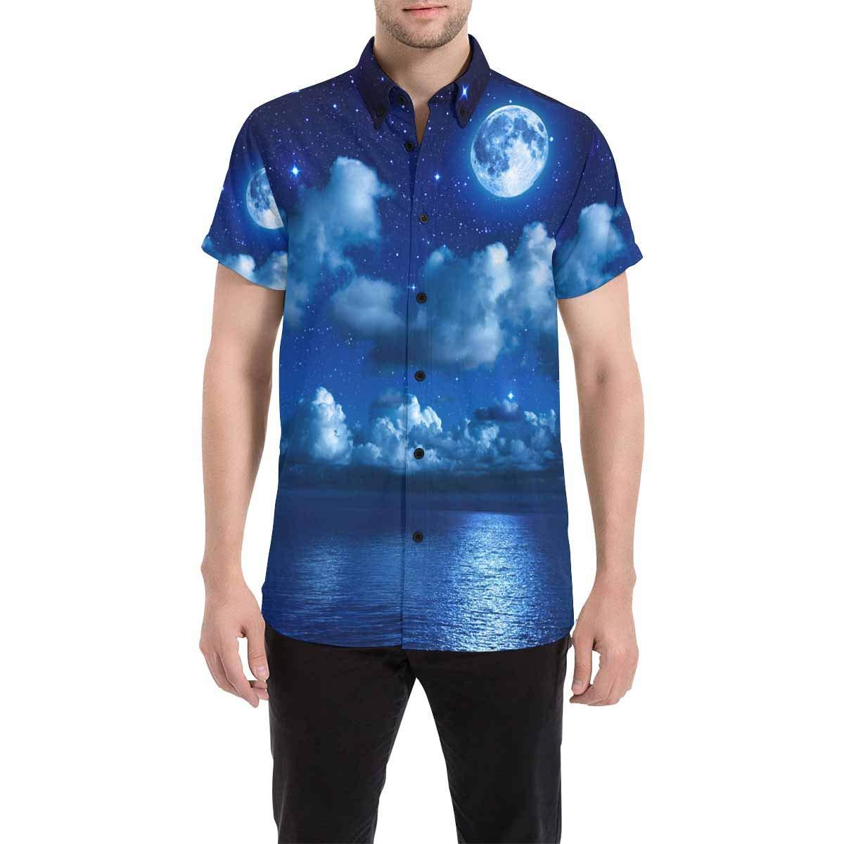 InterestPrint Men Botton Up T-Shirt Beach Letters Starfish Beach Sand Sea Regular Fit Short Sleeve Polo Casual T-Shirts S-5XL