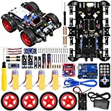 UNIROI Smart Robot Car Kit 4 Wheel Drive, Arduino Uno R3 Board, Ultrasonic Sensor, Infrared Tracking Module (No Welding Required)