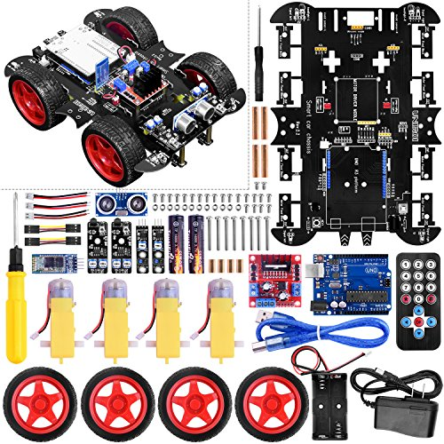 UNIROI Smart Robot Car Kit Arduino Robot Kit with 4 Wheel Drive, Arduino UNO R3 Board, Ultrasonic Sensor, Infrared Tracking Module (No Welding Required) -