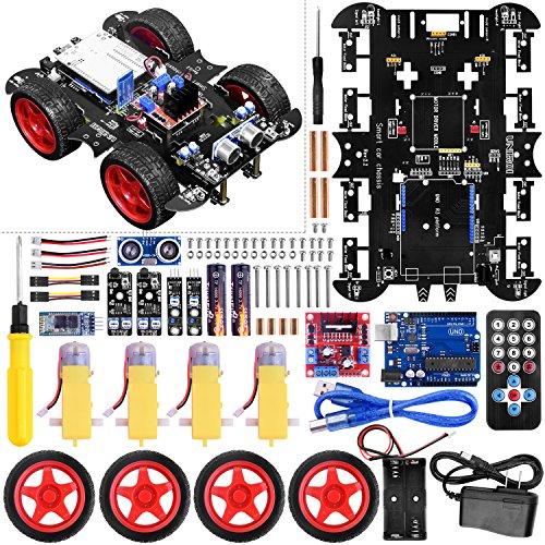 UNIROI Smart Robot Car Kit 4 Wheel Drive, Arduino Uno R3 Board, Ultrasonic Sensor, Infrared Tracking Module (No Welding Required) -