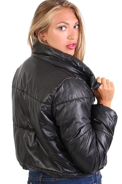 5b8a37b25c9 PILOT Women's Cropped Puffer Jacket in Black at Amazon Women's Coats Shop