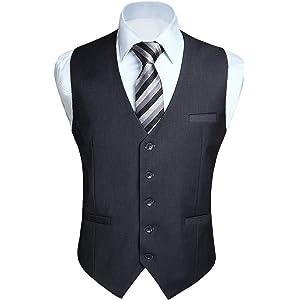 Enlision グレー ベスト メンズ フォーマル スーツ ベスト大きいサイズ 袖無し v ネック ベスト 無地 光沢 尾錠付き 紳士 礼服 175cm L サイズ