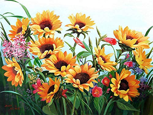 5D Sunflower Diamond Painting Kits for Adults Kids, Full Drill Flower Diamond Art by Number Embroidery Cross Stitch Kits DIY Canvas Oil Painting Rhinestones Diamond Pictures Craft for Home Wall D