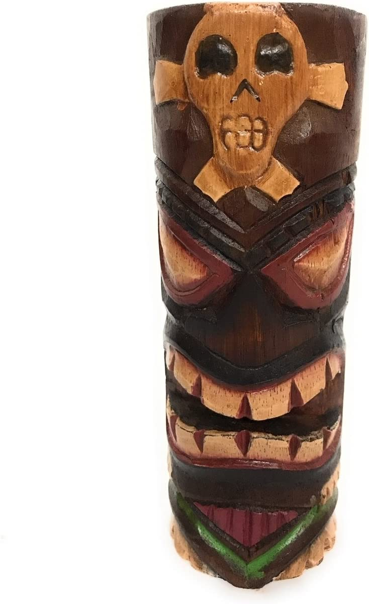 Tiki Totem 8 W Cross Bone Hand Carved Painted Amazon Ca Home Kitchen