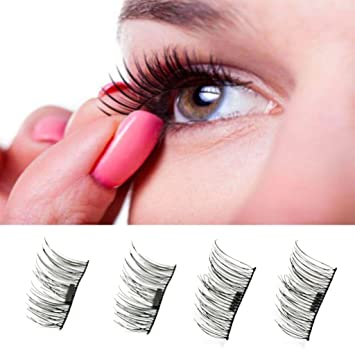 ba856c1257a Amazon.com : YXTech 1 Pair 4 Pieces 3D Magnetic Reusable False Eyelashes,  Women Long Natural Eye Lashes Extension Makeup Tool (#1) : Beauty