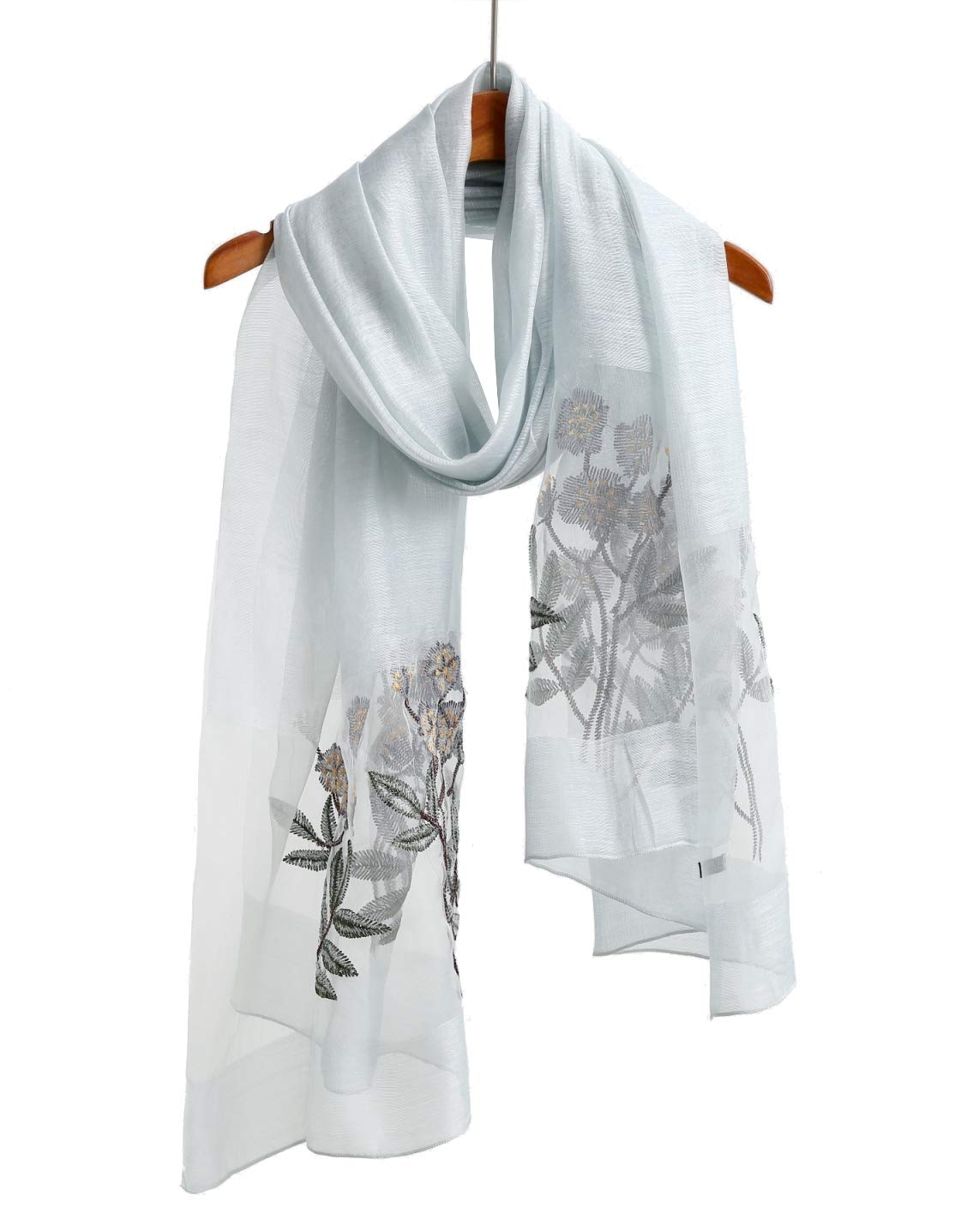 Light bluee Floral Winter Blanket Scarfs For Men And Women, Cashmere Like Pashmina Shawls And Wraps Scarves Solid color (bluee Tone)
