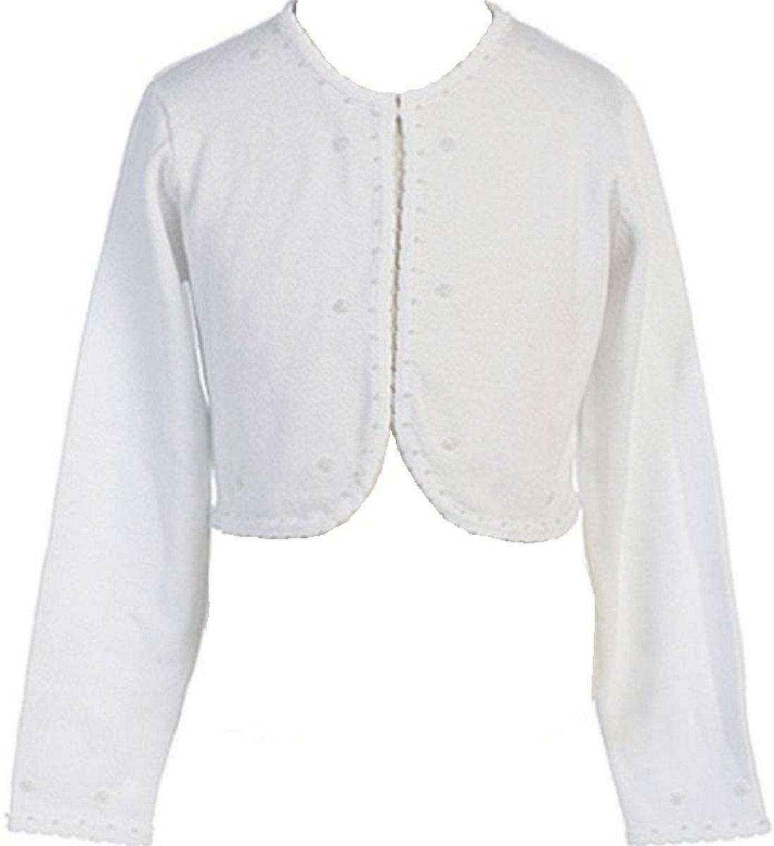 Little Girls Beaded Knit Cotton Bolero Shrug Sweater White Size S (2-4)