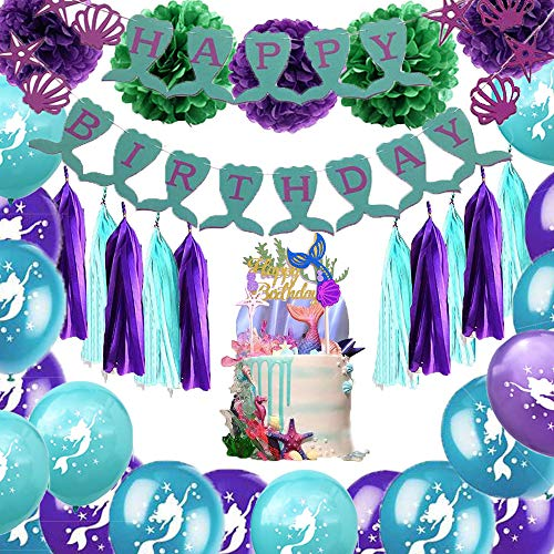 Mermaid Party Supplies And Decorations Kit Mermaid Birthday Party Banners Tissue Tassels Pom Poms Flowers Paper Lanterns Mermaid Cake Topper Mermaid Latex Balloons For Mermaid Birthday Party Favors Baby Shower -