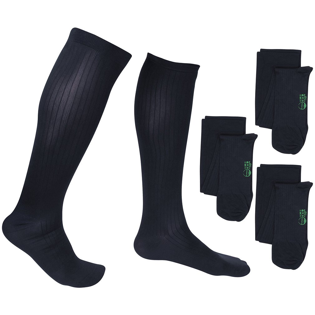 3 Pair EvoNation Men's USA Made Graduated Compression Socks 20-30 mmHg Firm Pressure Medical Quality Knee High Orthopedic Support Stockings Hose - Best Comfort, Circulation, Travel (Large, Navy Blue)