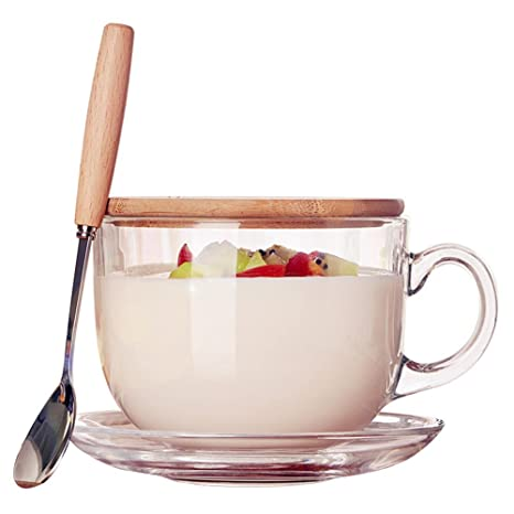fc45a8aab9 Amazon.com | Teemall 16oz Morning Mug Clear Glass Tea Cup Coffee Mug with  Bamboo Lid and Saucer, Spoon: Teacups