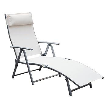 Outsunny transat chaise longue bain de soleil pliable dossier inclinable multi positions têtière fournie 137l