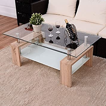 Delicieux Costway Rectangular Tempered Glass Coffee Table W/Shelf Wood Living Room  Furniture