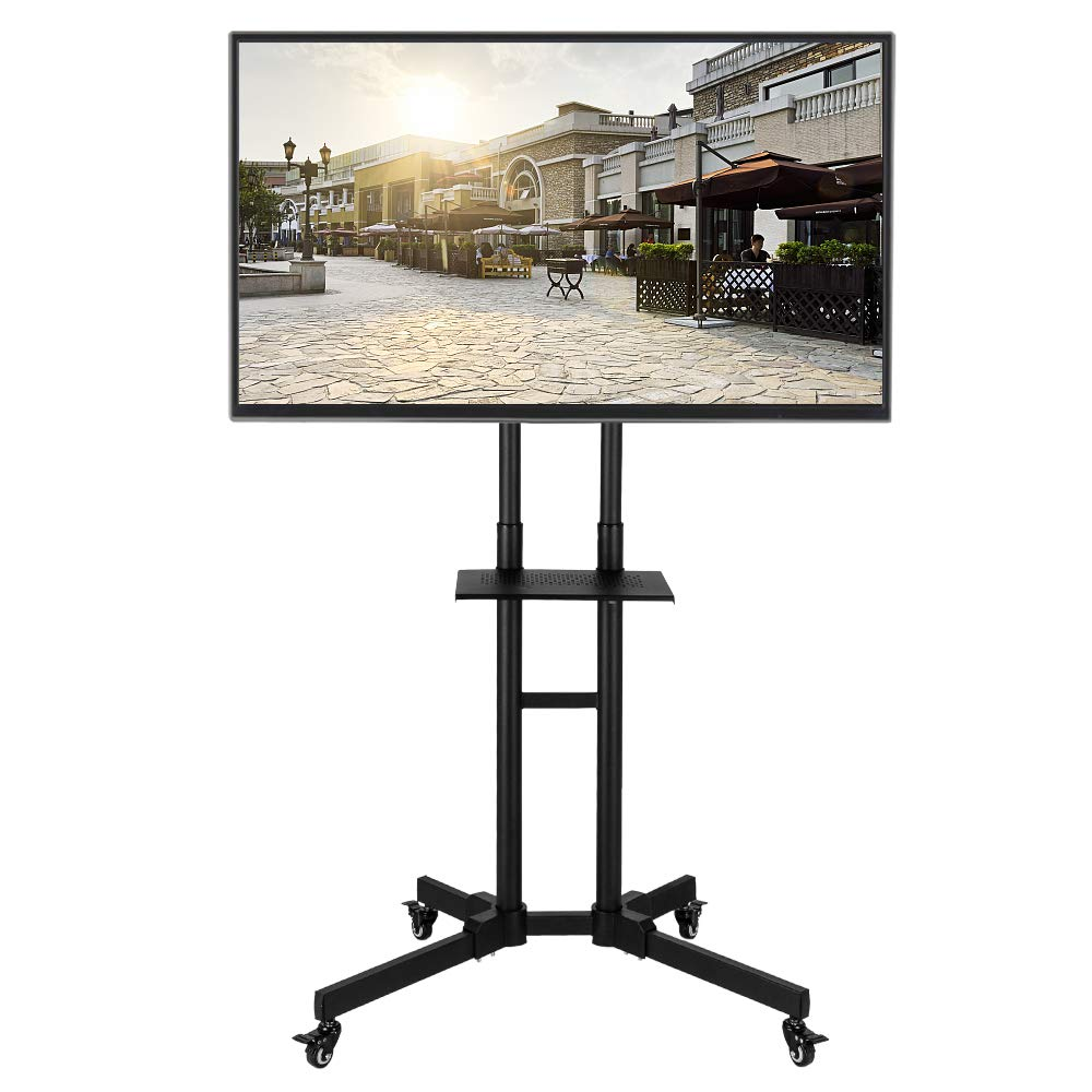 SSLine Mobile TV Stand for 40-65'' Flat Screen TVs Rolling TV Cart on Wheels Height Adjustable Floor Stand TV Console Trolley with Mount Plasma LCD LED Flat Panel Monitor by SSLine