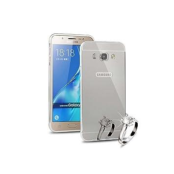 Funda Samsung Galaxy J5 2016, Lincivius® [Espejo Lattice] Fundas Galaxy J5 2016 Carcasa Case Aluminio Espejo Hibrida 2 Partes Dura Anti Golpes Estuche ...