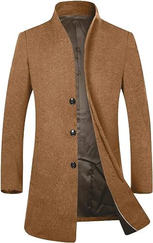 TALLA XL. APTRO - Abrigo largo elegante para hombres con talle ajustado y diseño frontal francés, lana