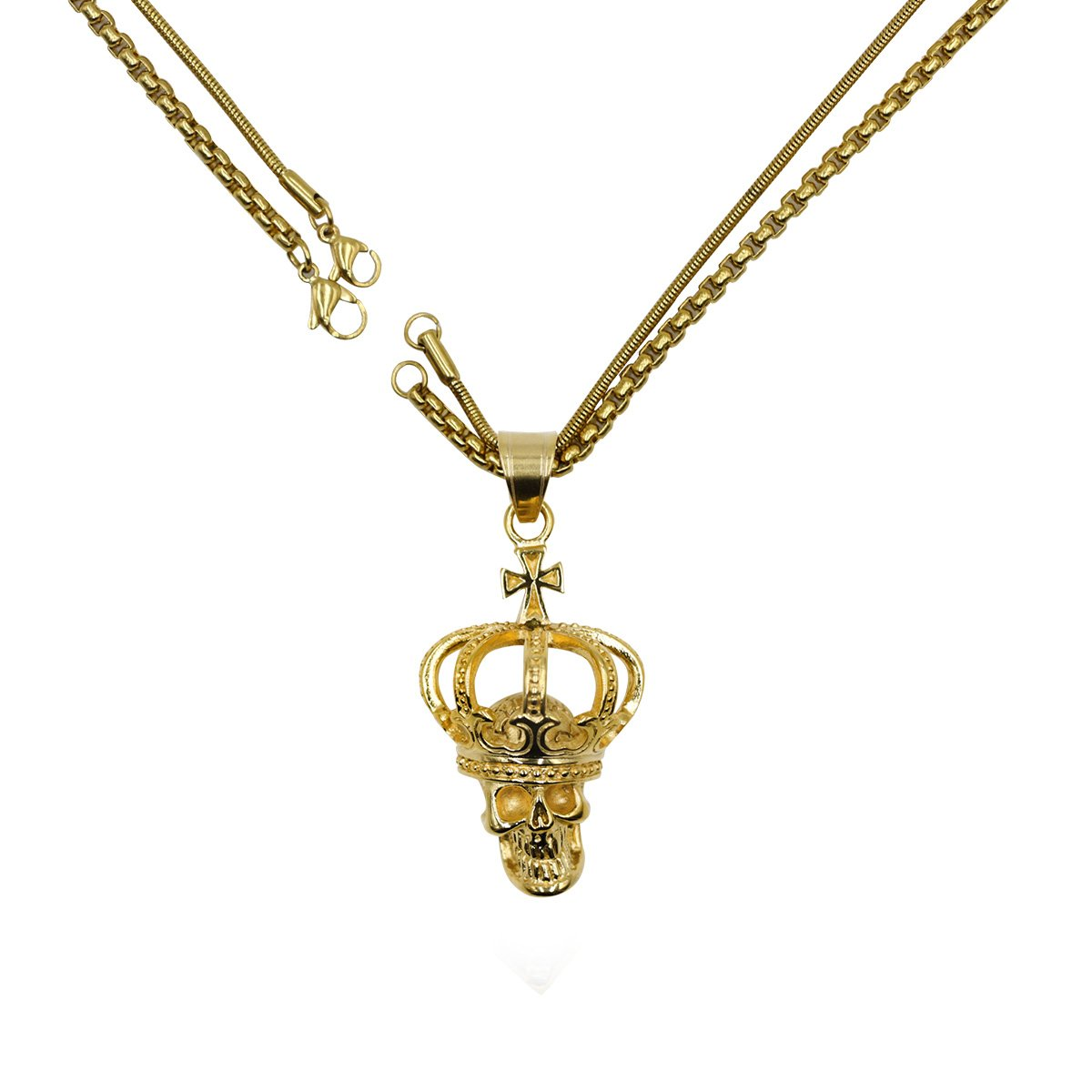 Skull Stainless Steel Pendant Necklace Jewelry for Men with Double Chain (Gold)