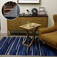 Carvapet Cotton Handmade Area Rugs Mixed Woven Stripe Tassel Non Slip Padding Carpet, 4 x 6, Blue
