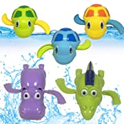 JollySweets Turtles Hippo Crocodile Wind Up Toys Floating Bath Toys 5 Pcs, Bathtub Toys for Toddlers, Clockwork Water Toys Swimming Toys Boys and Girls