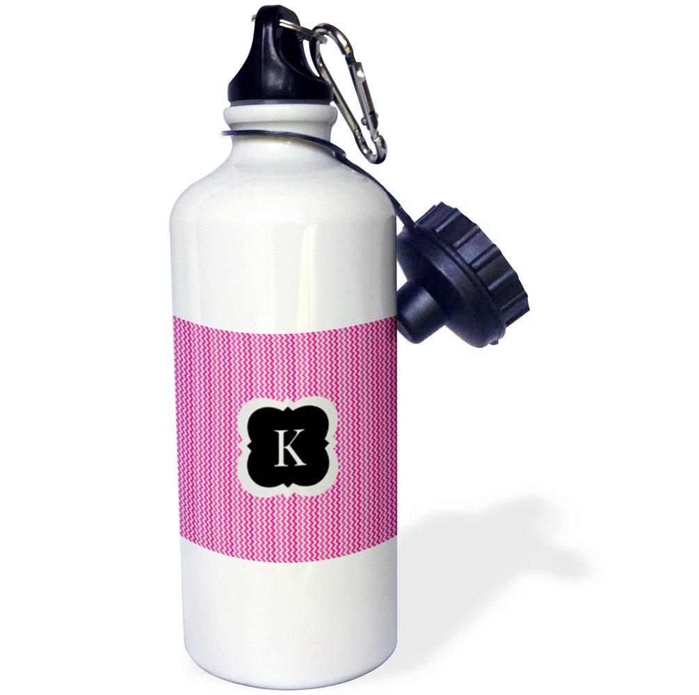 3dRose wb_222047_1 Pink and Grey Chevron Monogram Initial K Sports Water Bottle, 21 oz, White