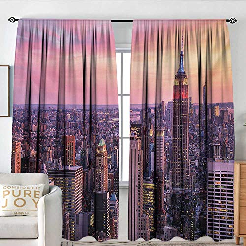 - Petpany Rod Pocket Blackout Curtain Cityscape,New York City Midtown with Empire State Building Sunset Business Center Rooftop Photo,Peach,Decor/Room Darkening Window Curtains 54