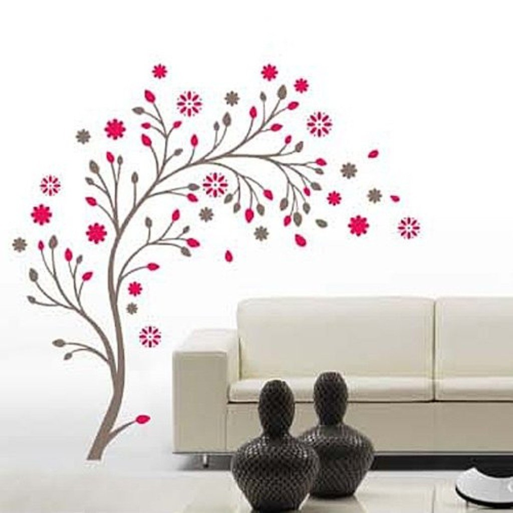 Amazon.com: Decals Design Stickerskart Wall Stickers Beautiful Magic Tree  With Flowers (Wall Covering Area: 120x120cm ,Product Dimensions: 50x70cm):  Home U0026 ...