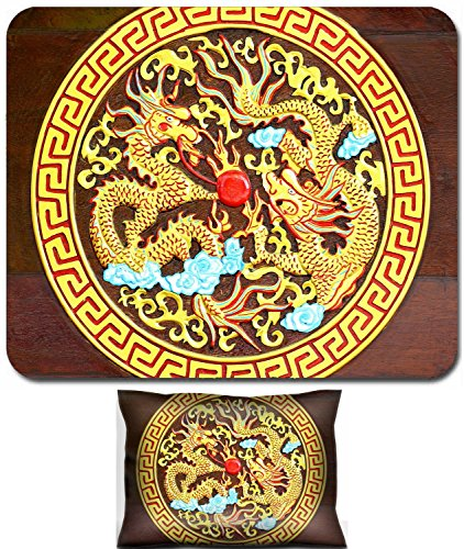- Luxlady Mouse Wrist Rest and Small Mousepad Set, 2pc Wrist Support design IMAGE: 22404079 Golden Dragon carved wood background