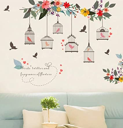 Black Bird Cage Flower Wall Stickers Art Decal Mural Home Living Room Decor QK