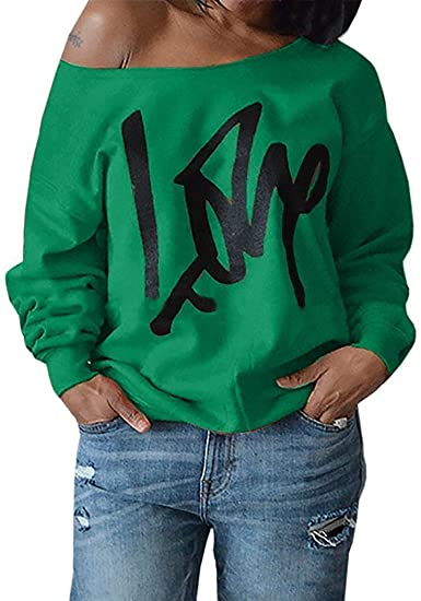 5d5e28e1978 Womens Plus Size Off Shoulder Pullover Sweatshirt Love Wifey Letter Printed Tops  Shirts at Amazon Women s Clothing store