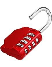 Combination Padlock, 4 Digit Lock Set, Locker Lock, Re-settable Combo Lock, Gym Locker, School Locker, Employee Locker for Outdoor, Fence, Hasp and Storage