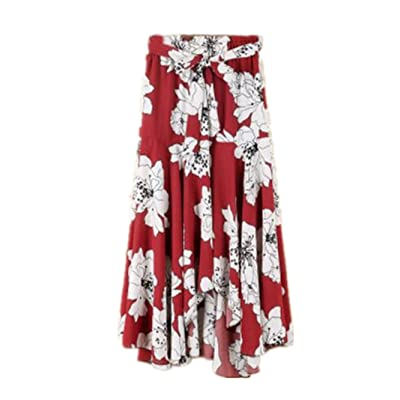 0fe7addb7a67 BESTHOO Jupe Mi Longue Femme Jupe Laçage Loisir Jupe Ourlet Irrégulier Jupe  Taille Elastique Jupe Floral