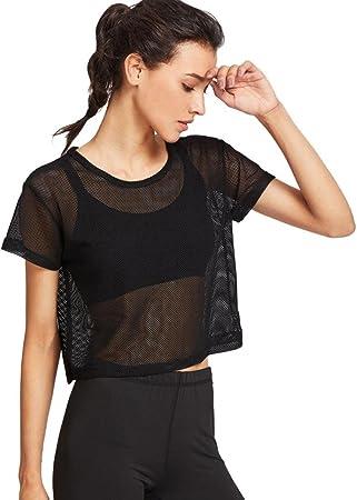 Yeamile💋💝 Camiseta de Mujer Tops Suelto Blusa Causal Camisetas Ocasionales Blusa Negra de la Malla Tops de los Deportes Camiseta Superior de la Aptitud del Baile (Negro, M): Amazon.es: Hogar