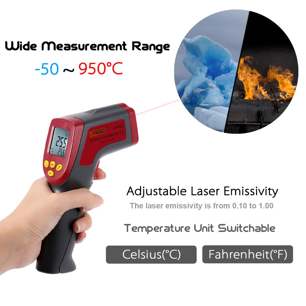 -50~950C Digital Infrared IR Thermometer 12:1 Handheld Temperature Tester Pyrometer With Backlight Adjustable Emissivity by Temperature tool (Image #3)