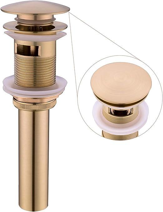 Hiendure Brass Bathroom Vessel Sink Pop Up Drain Stopper without Overflow Gold