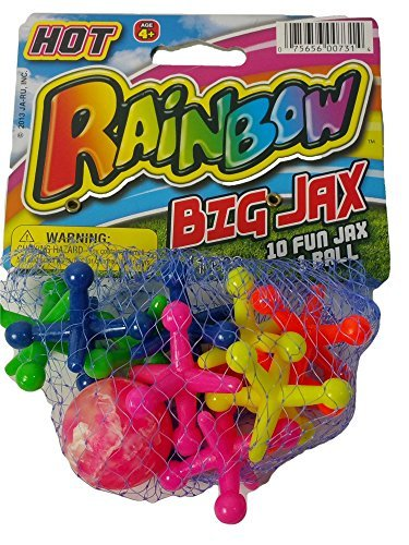 Hot Rainbow BIG JAX Retro 1 Large Hi-Bounce Ball & 10 Large Colorful Rubber Jacks In/Outdoor (Outdoor Jack)
